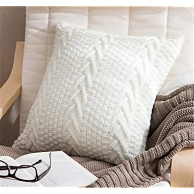 Decorative Cotton Knitted Pillow Case Cushion Cover Double-Cable Warm Throw Pillow Covers for Bed Couch 18  X 18  (Cover Only, White)