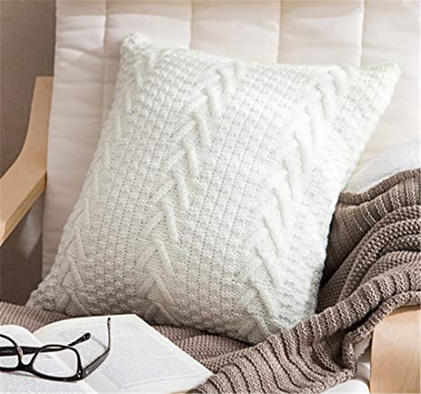 decorative cotton knitted pillow case cushion cover doublecable warm throw pillow covers for bed
