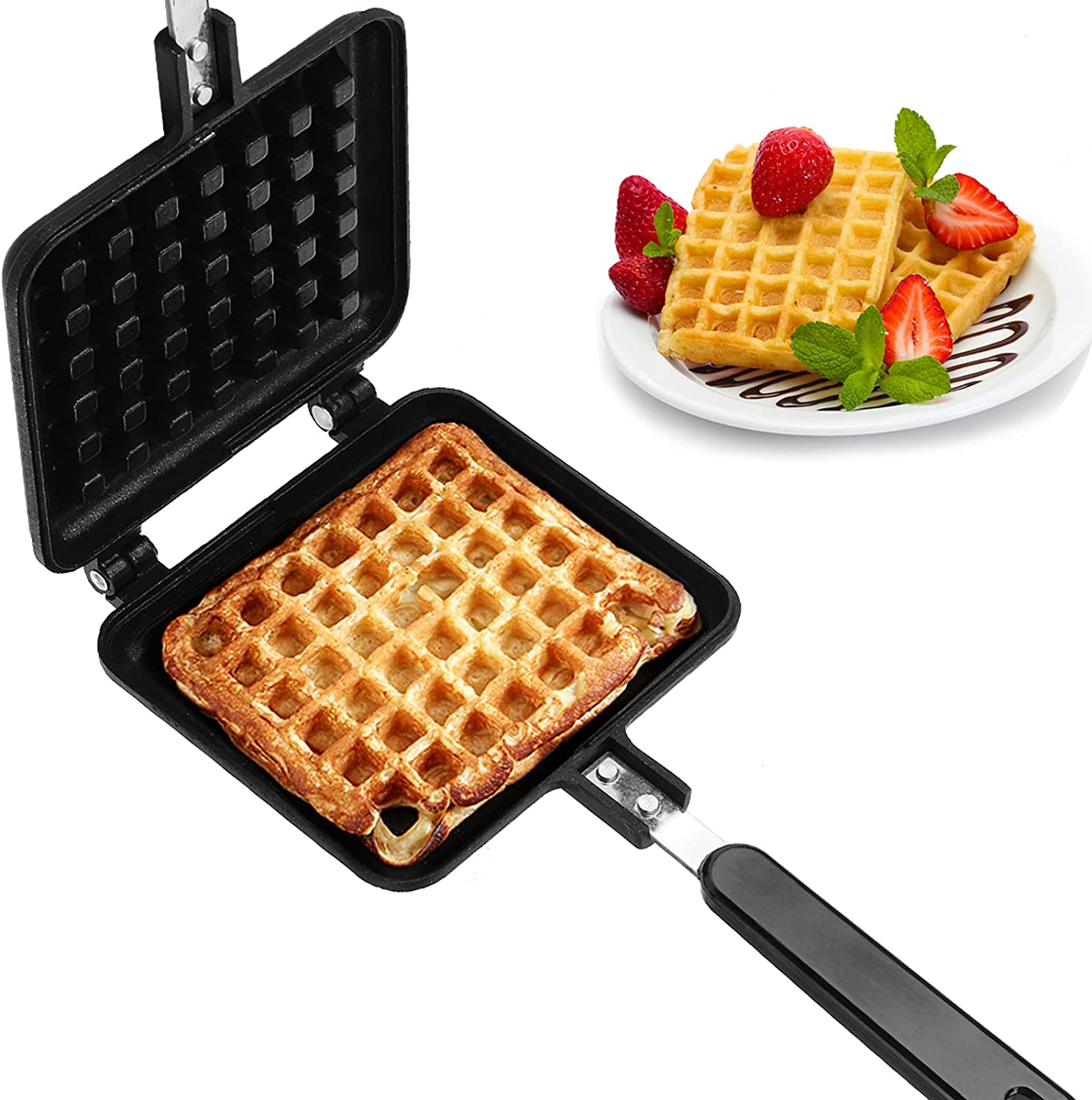 Dicunoy Waffle Iron, Nonstick Waffle Maker Pan, Stove Top Iron Waffle Maker for Belgian Waffles Sandwich Toaster, Breakfast, 5.5