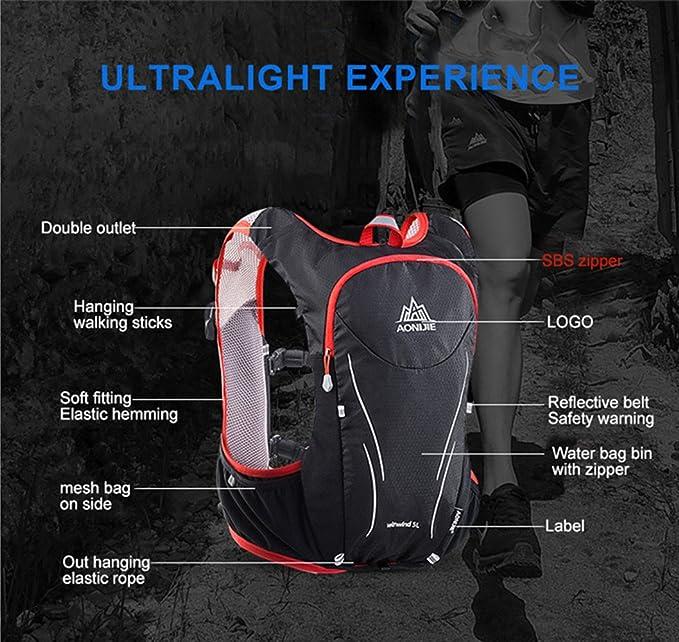 Amazon.com : AONIJIE Women Men 5L Marathon Hydration Vest Pack for Hiking Running Bicycling - 2L Water Bag/2 Pcs 500ml Soft Bottle(Optional), ...