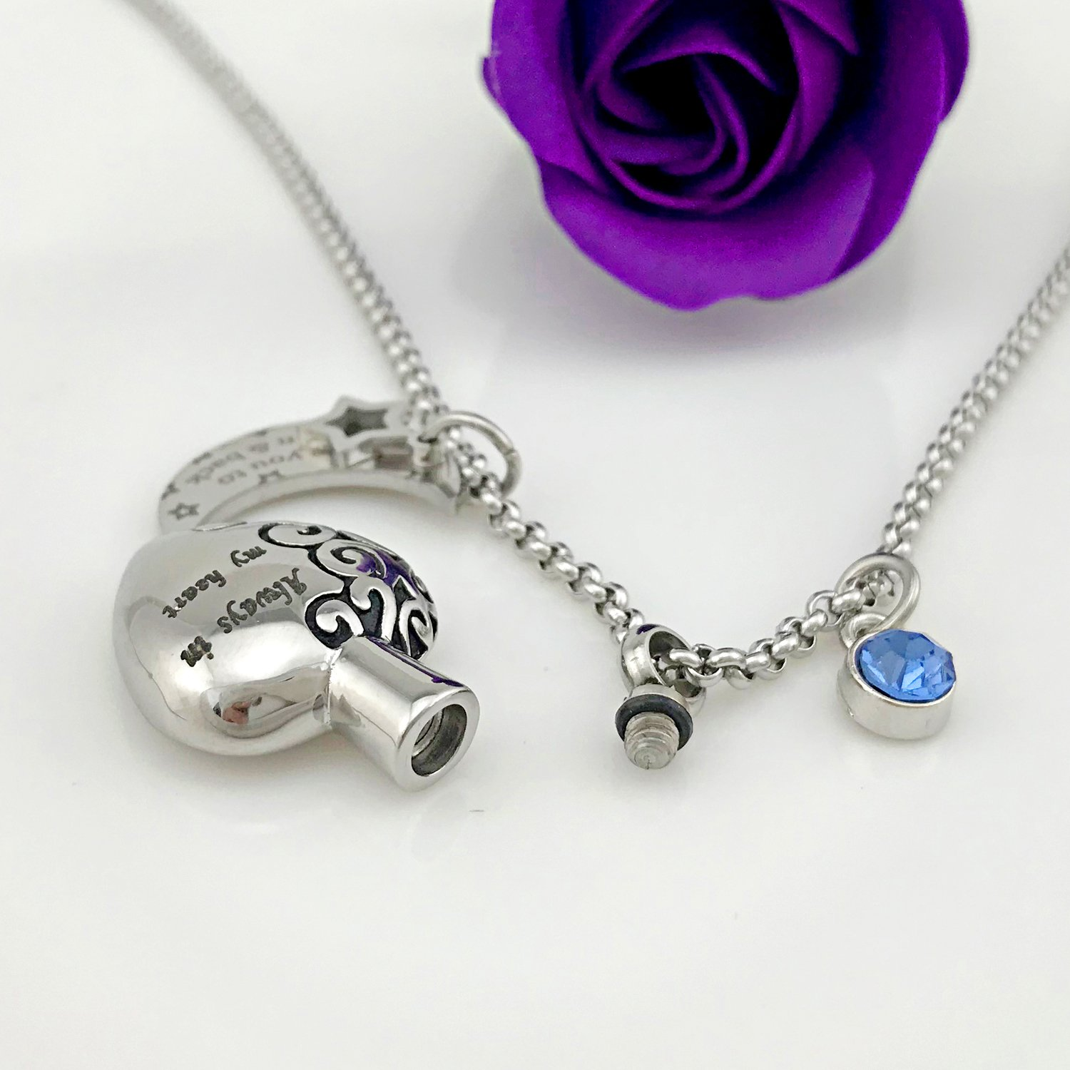 YOUFENG Urn Necklaces for Ashes Always in My Heart Love You to The Moon and Back 12 Birthstones Styles Necklace (December Birthstone URN Necklace) by YOUFENG (Image #4)