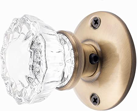 Top-of-the-Line Brushed Nickel /& Fluted Crystal Glass  Privacy KNOB SET