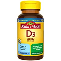 Nature Made Vitamin D3 1000 IU (25 mcg) Softgels, 100 Count for Bone Health† (Packaging...