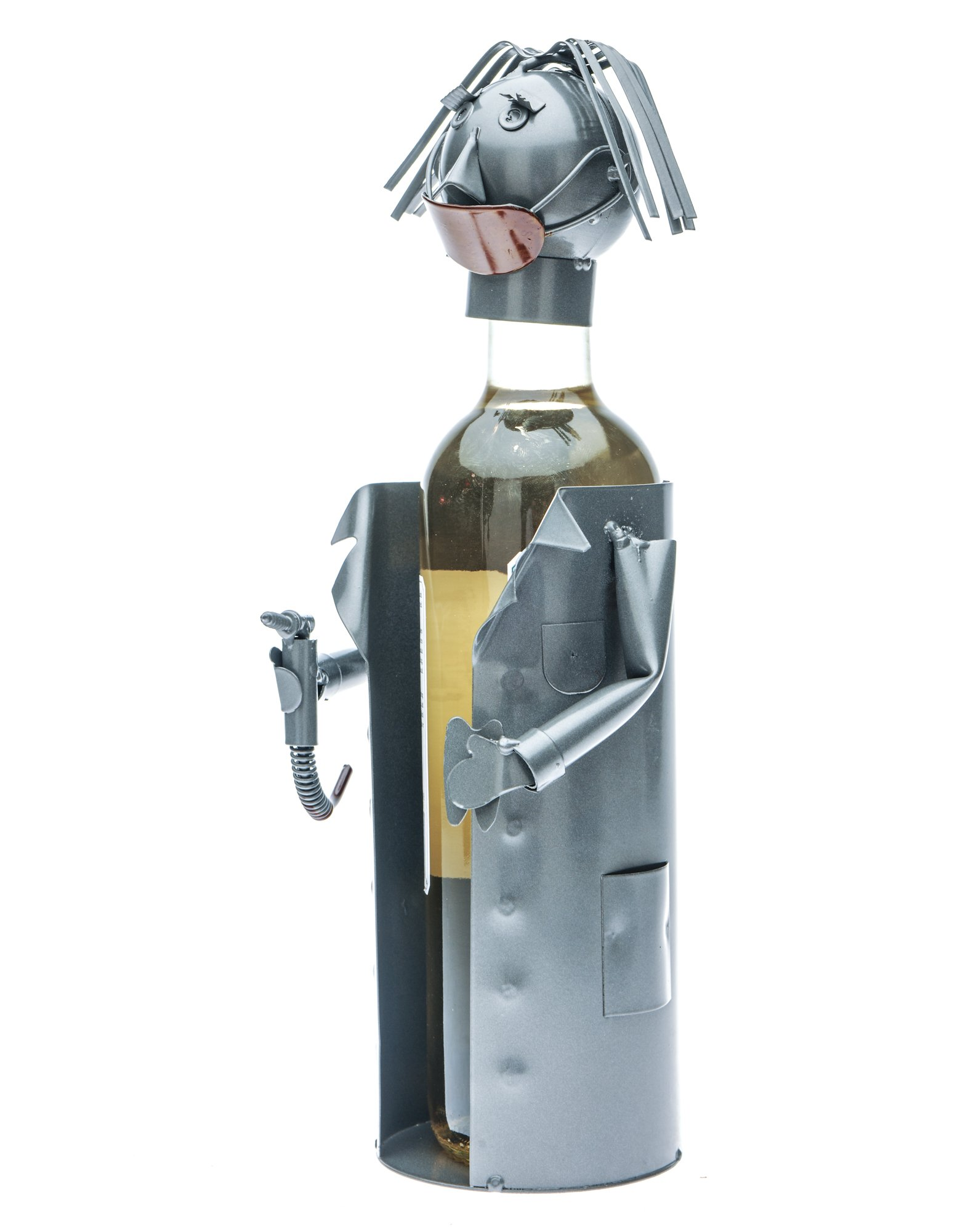 Female Dentist (Wearing a Coat,Mouth Is Covered with Mask, Holding a Drill Plus a Tray) Wine Bottle Holder Plus a Wine Foil Cutter and a Wine Bottle Vacuum Stopper by Upscale Innovations (Image #3)
