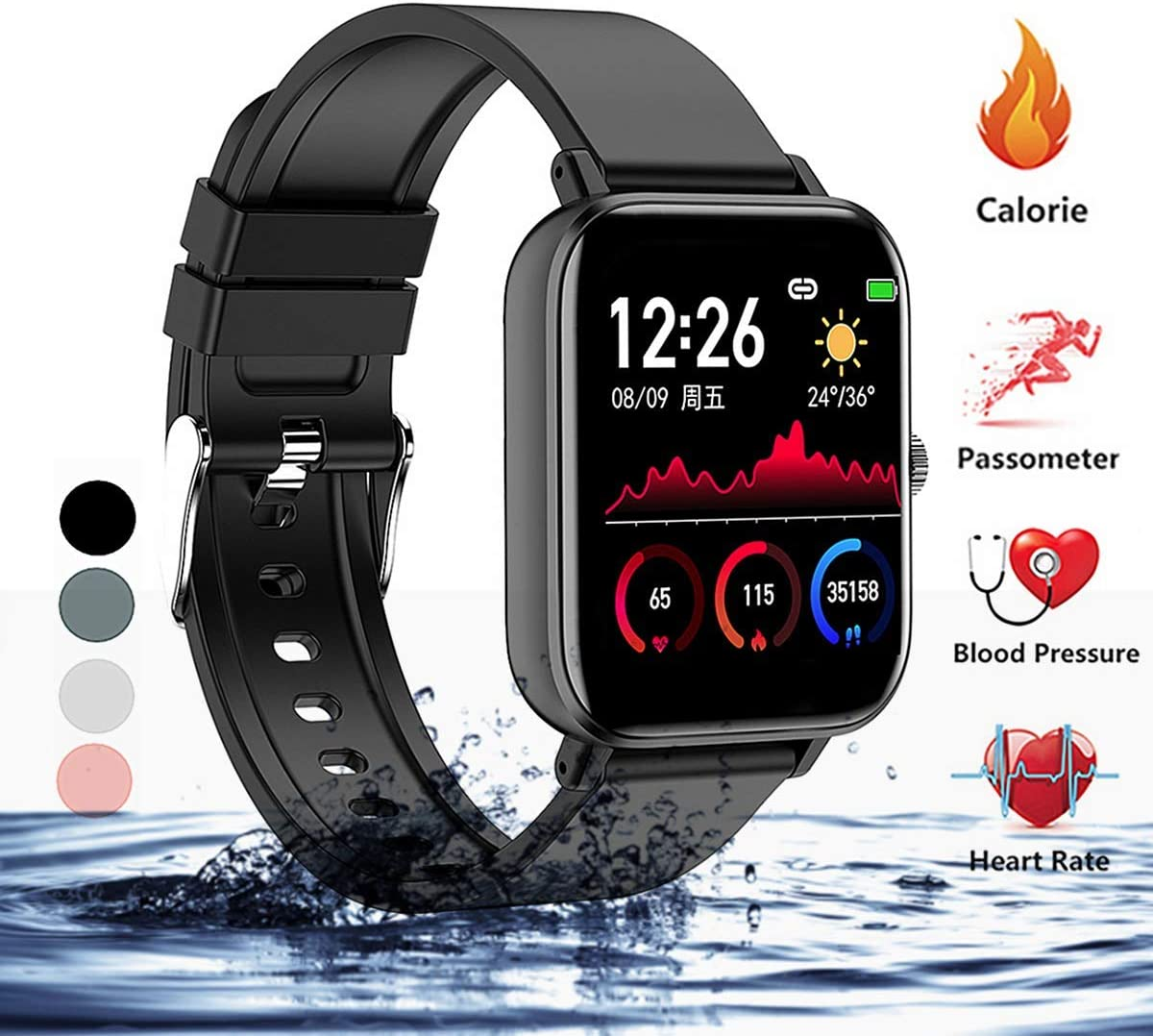 linyingdian Smartwatch, Reloj Inteligente Impermeable IP67 para Hombre Mujer niños, Pulsera de Actividad Inteligente con Monitor de Sueño Contador de Caloría Pulsómetros Podómetro para Android iOS