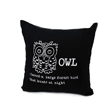 Amazon.com: Búho decorativo Throw Pillow, Moderno Lino y ...