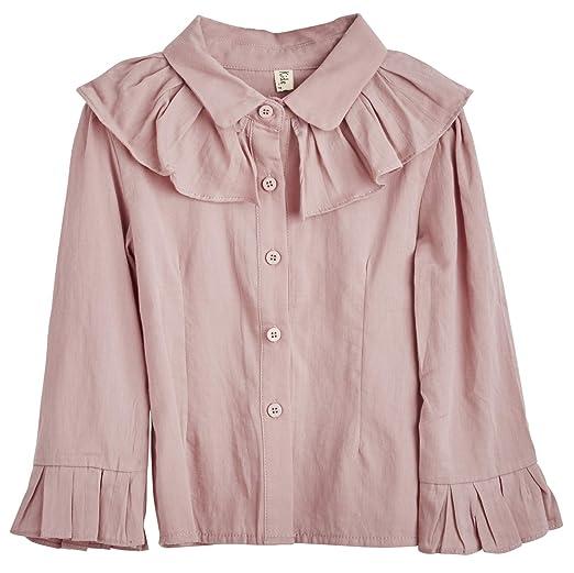 493955b04ce404 Amazon.com: ContiKids Girl's Big Bell Sleeve Ruffle Top Button Down ...
