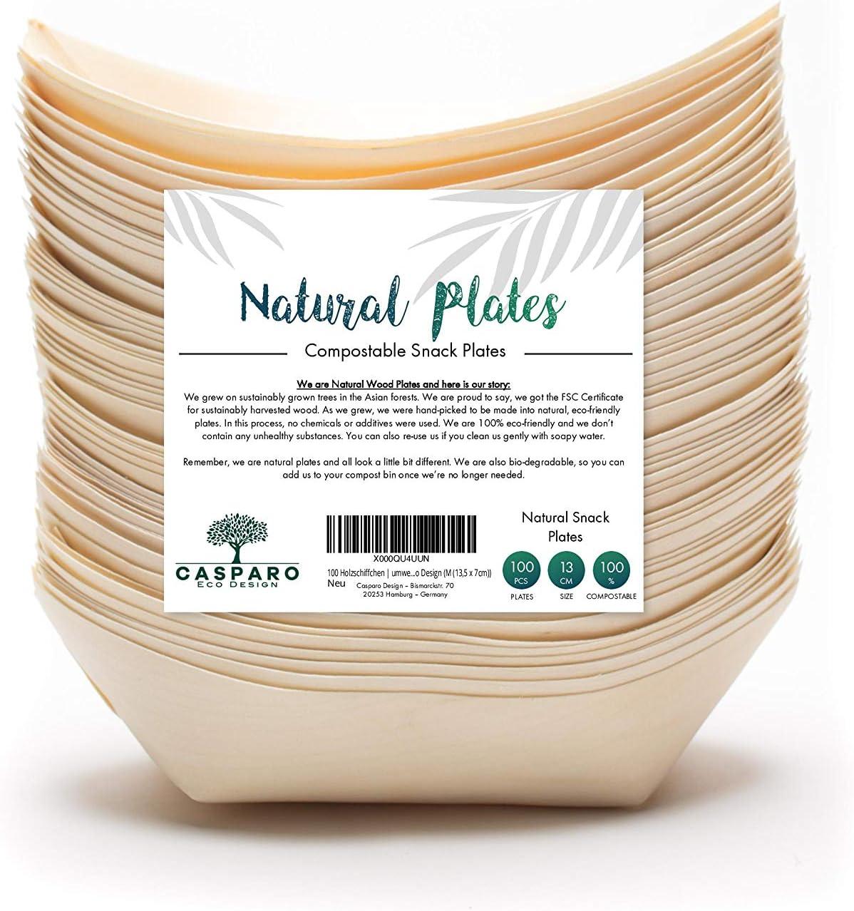 Bio Einweg-Geschirr 100/% kompostierbar /& nachhaltig edel /& dekorativ Plantvibes /® 100 x Snackschalen Natur Einwegschalen perfekt f/ür Finger-Food aus FSC zertifiziertem Holz