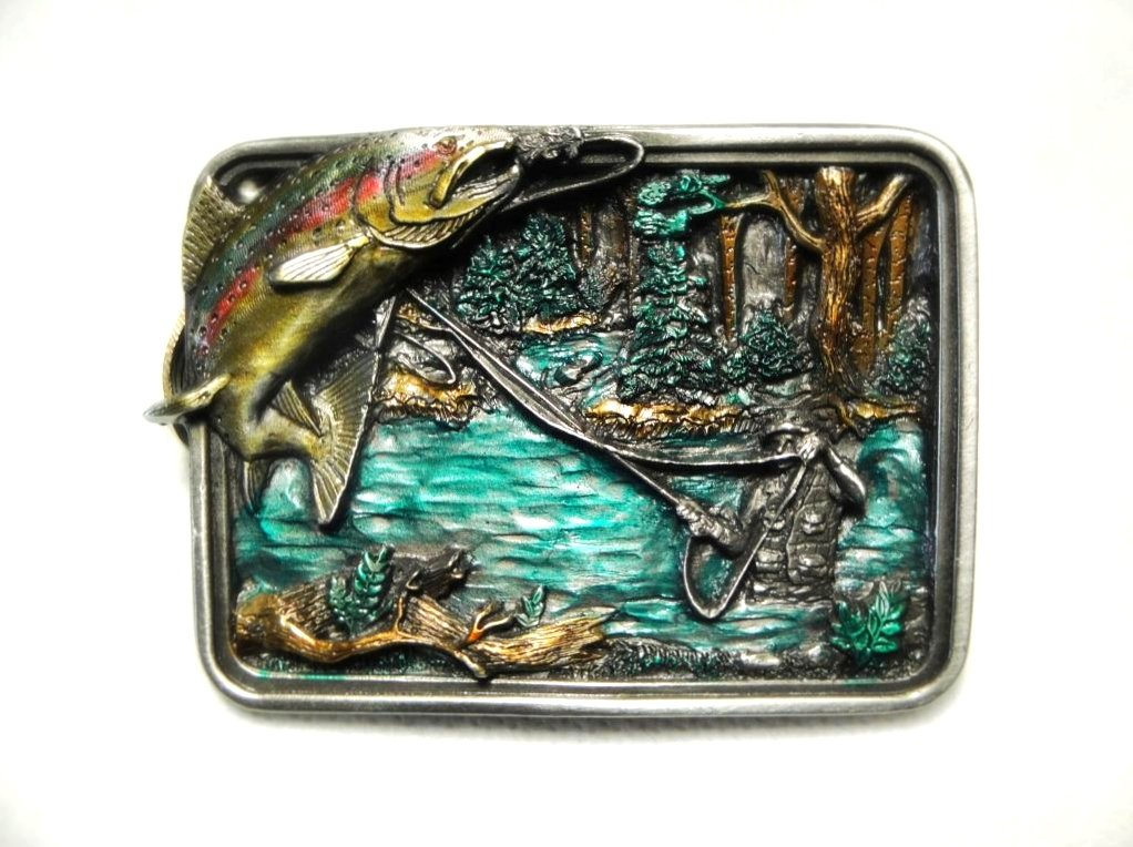 ''TROUT FISHING AT ITS FINEST'' PEWTER BELT BUCKLE BY BERGAMONT