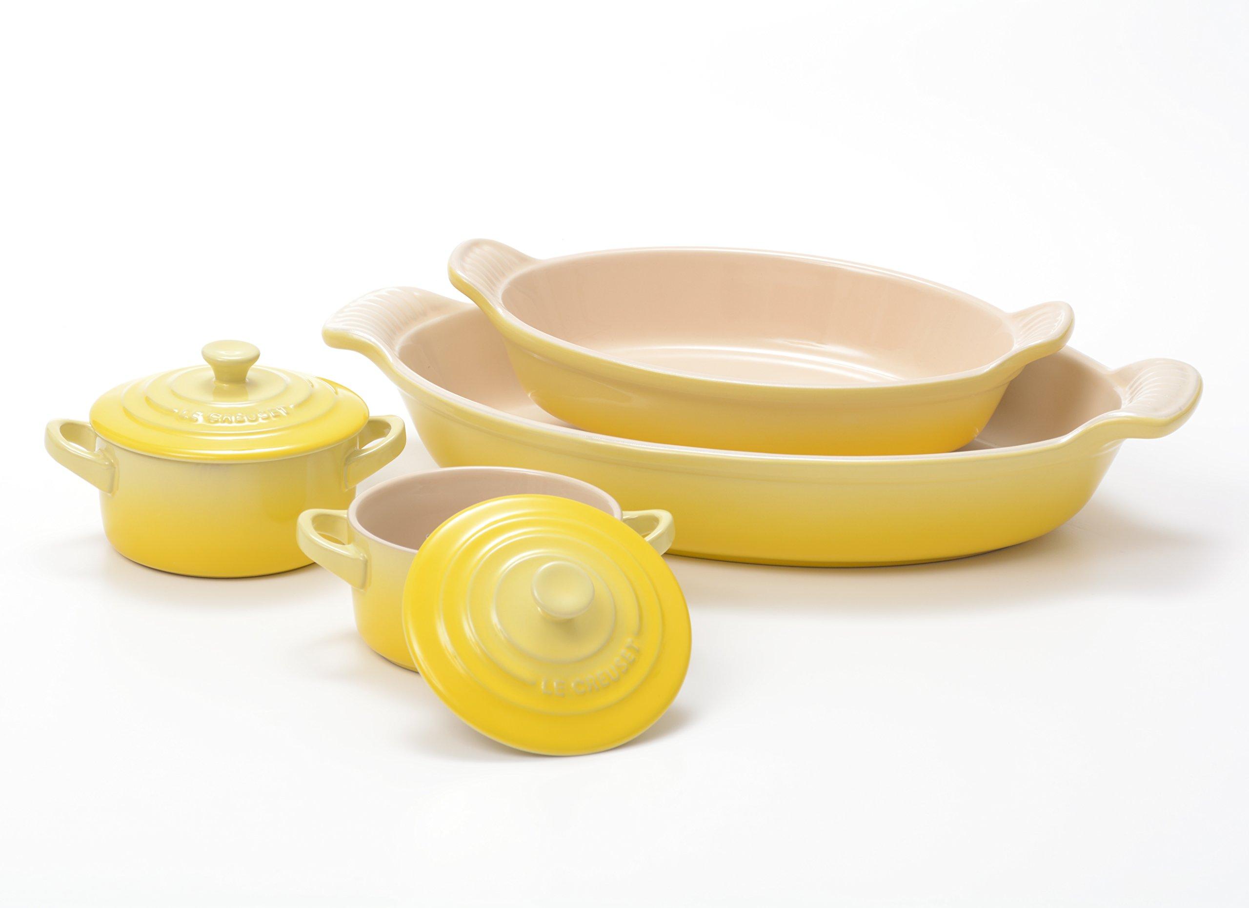 Le Creuset Heritage Soleil Yellow Stoneware 2 Piece Au Gratin Dish Set with 2 Mini Cocottes
