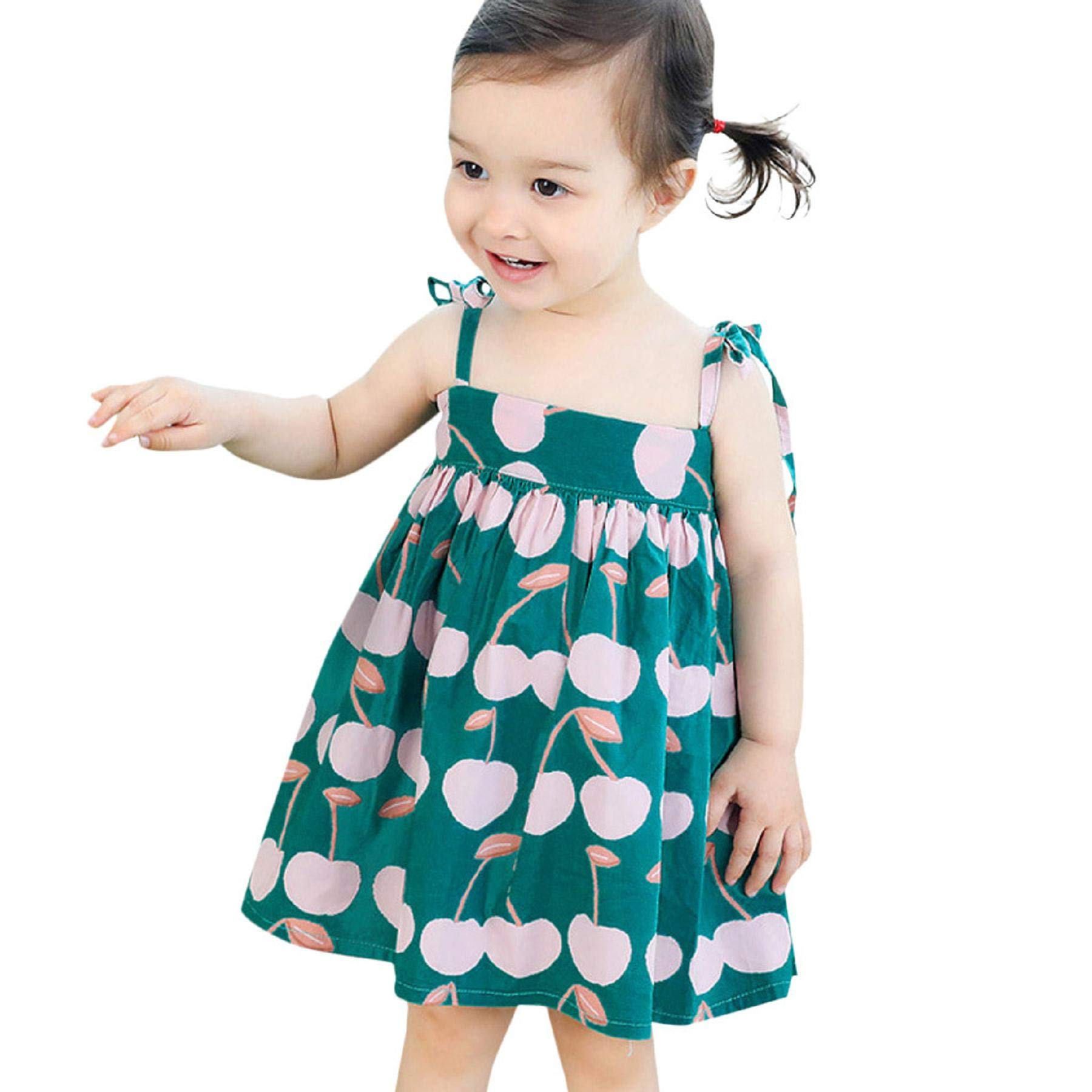 Zainafacai Baby Clothes Set, Baby Infant Girl Kids Sleeveless Printed Straps Princess Dress Clothes Green