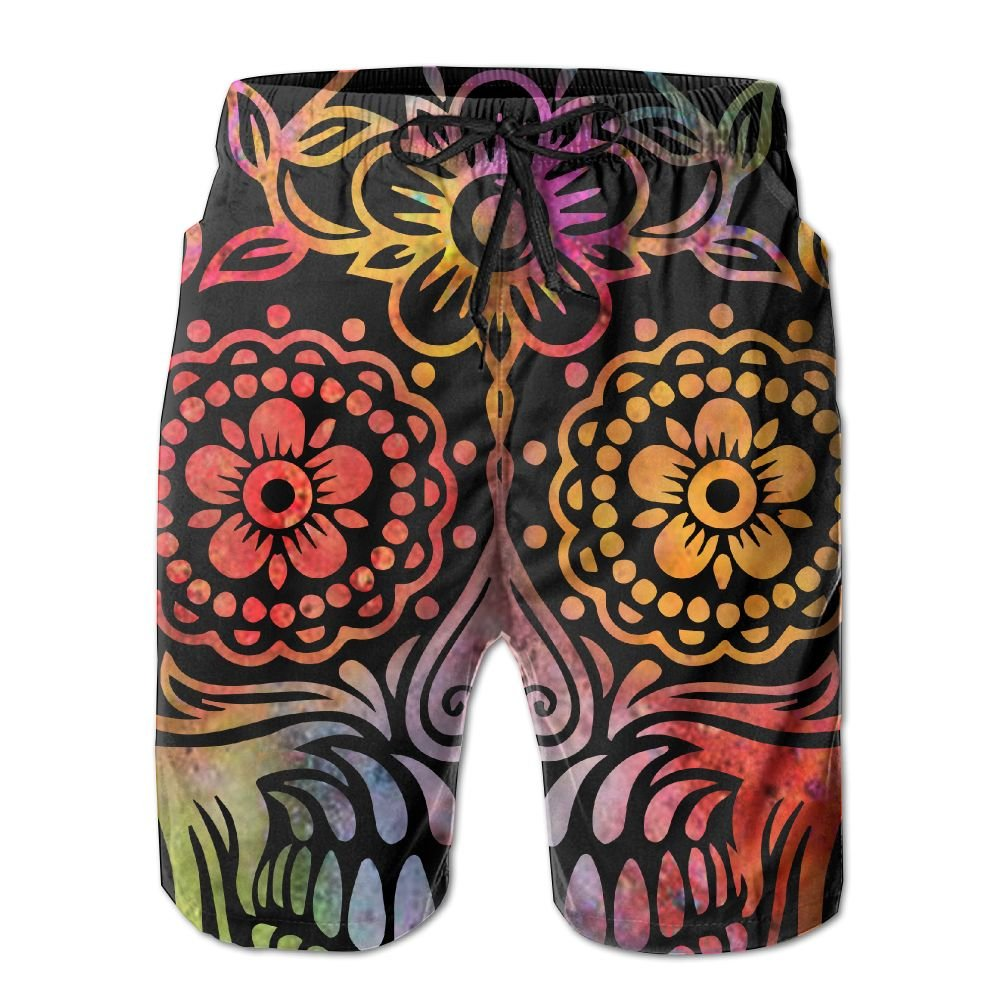 Men White Mexican Sugar Skull Quick-Dry Lightweight Fashion Board Shorts Swim Trunks XL by COOA