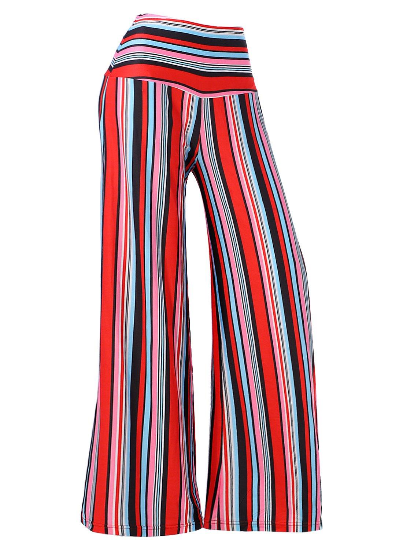 Arrisol Women's Stretchy Wide Leg Palazzo Lounge Pants (XXX-Large, Stripe)