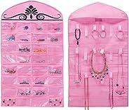 MISSLO Hanging Jewelry Organizer Holder 32 Pockets 18 Loops for Accessories Storage