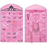 MISSLO Pink Jewelry Hanging Non-Woven Organizer Holder 32 Pockets 18 Hook and Loops