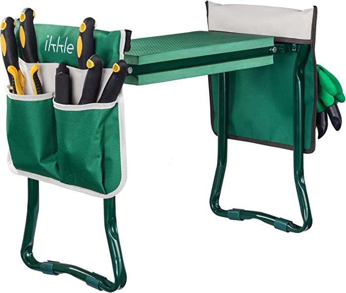Garden Kneeler and Seat Gardening Stool Portable Foldable Garden Bench with Kneeling Pad, Adjustable Belt Tool Pouches, Pruning Shear