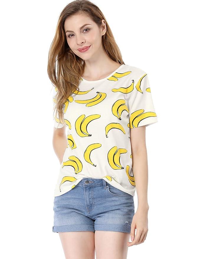 62fa078f10 Amazon.com  Allegra K Women s Short-Sleeve Banana Printing Casual T-Shirt   Clothing