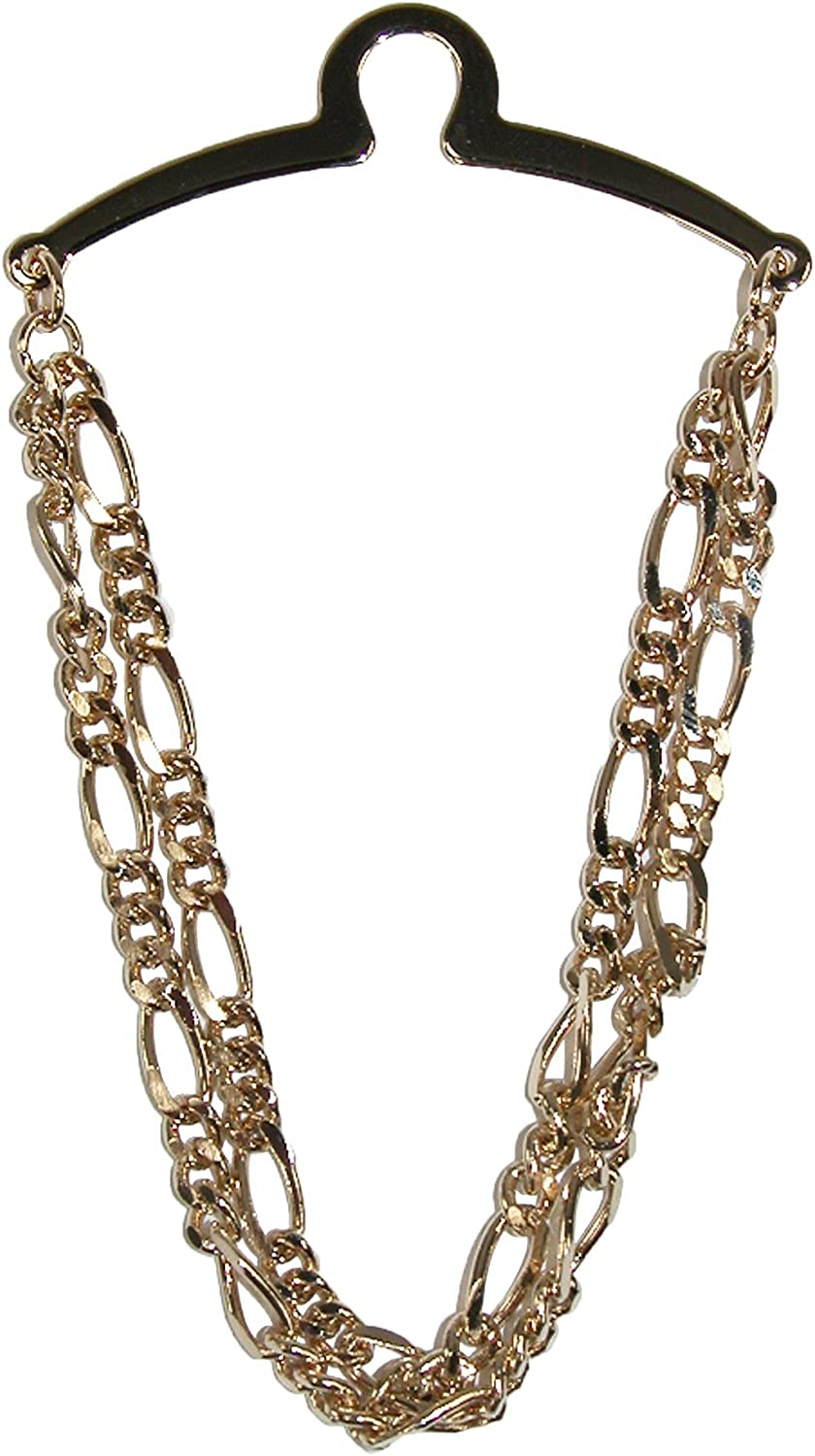Competition Inc. Men's Double Figaro Style Link Tie Chain, Gold