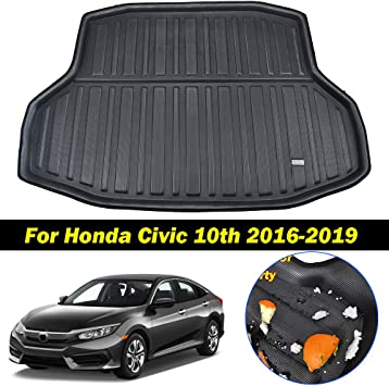Amazon Com Xukey For Honda Civic Sedan 2016 2019 Cargo Liner Boot Rear Trunk Mat Tray Floor Carpet Luggage Tray Mud Kick Pad Tailored Automotive