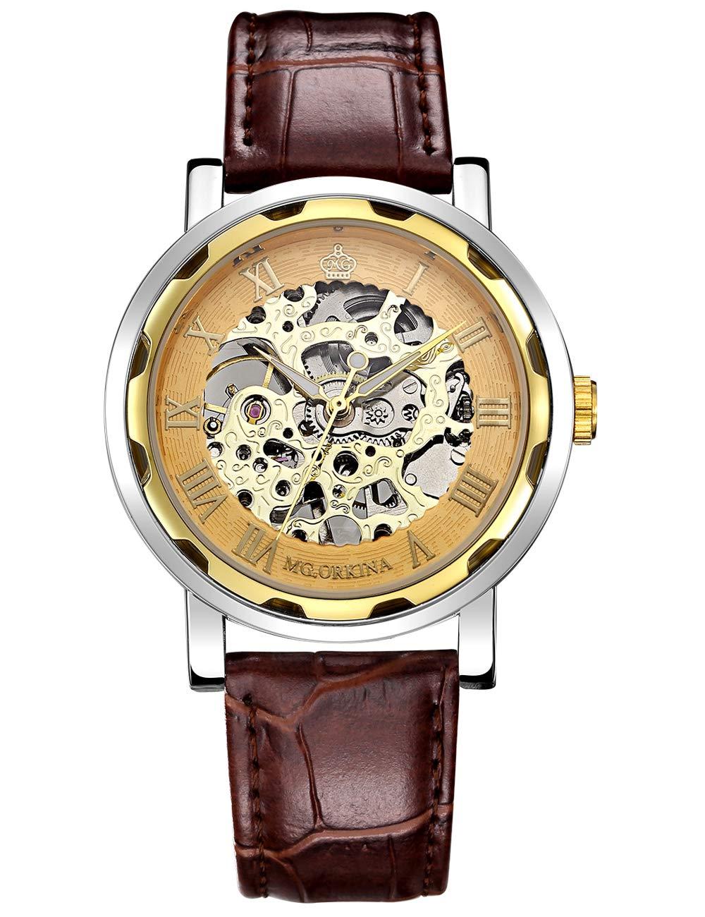GuTe Steampunk Golden Style Skeleton Unisex Mechanical Hand-wind Wrist Watch Brown Band