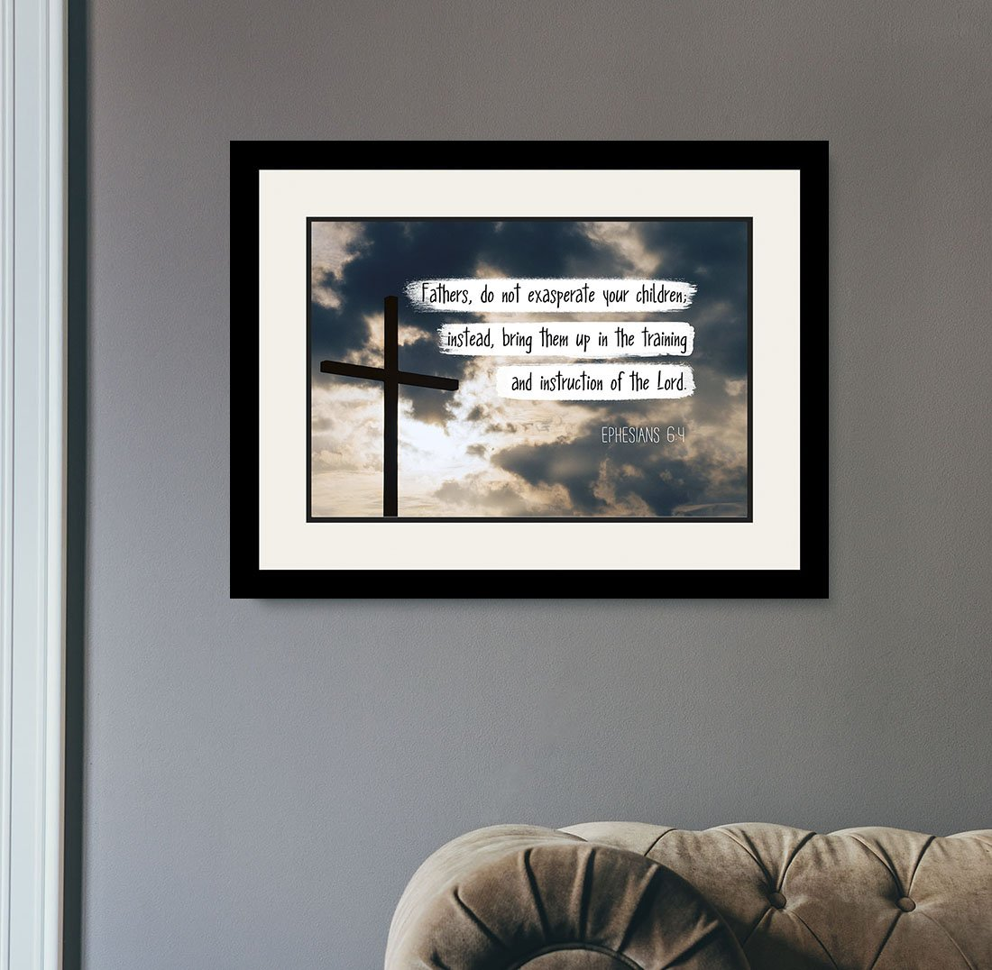 Ephesians 6:4 Fathers, do not exasperate - Christian Poster, Print, Picture or Framed Wall Art Decor - Bible Verse Collection - Religious Gift for Holidays Christmas Baptism (19x25 Framed) by WeSellPhotos (Image #2)