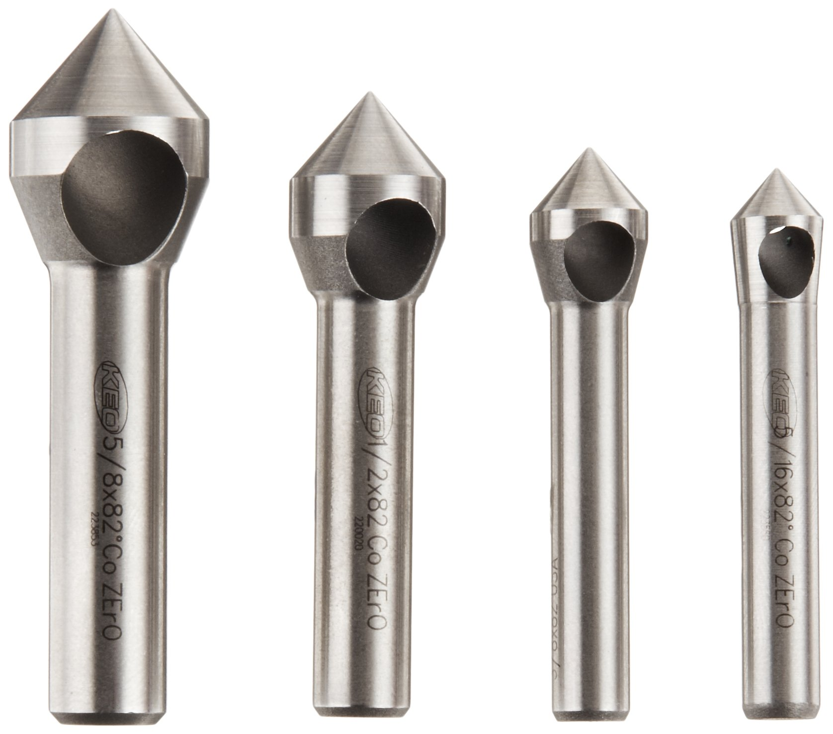 Double-Ended Plain Style Bright 0.125 Body Diameter 60 Degrees 0 Size Finish Magafor 1055 Series Cobalt Steel Combined Drill and Countersink Uncoated