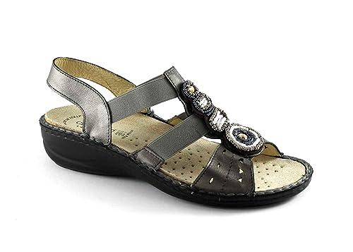 GRUNLAND DARA SE0153 grigio sandali donna plantare estraibile