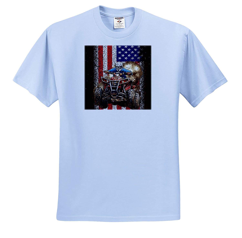 ATV Quad Offroad with United States Flag America ts/_319028 3dRose Sven Herkenrath Quad Adult T-Shirt XL