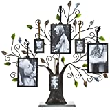 "Klikel 20"" Bronze Family Tree of Life Centerpiece Display Stand With Green Leaves And 6 Hanging Photo Picture Frames - 3 Each of 4x6 And 2x3"