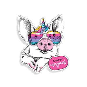 Pig Unicorn Rainbow Glasses Sticker Car Truck Laptop Cup Window Bumper Cooler Graphic Animal Magical Vinyl Decal