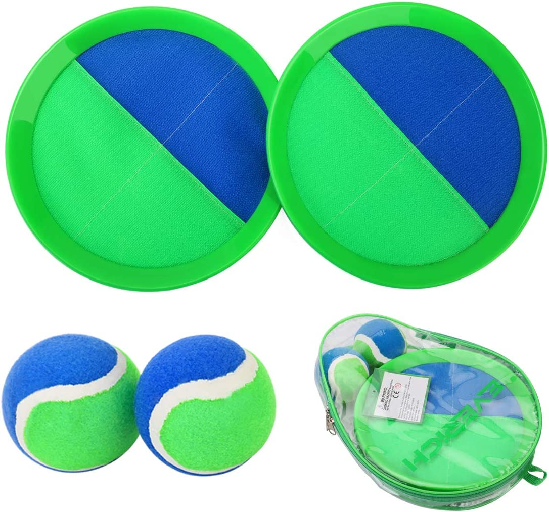 EVERICH TOY Paddle Toss and Catch Ball Set-Upgraded Version 8 Inch Paddle Catch Games Toy for Kids/Adults(2 Rackets,2Balls,1 Storage Bag) (Blue/Green)