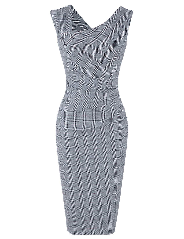 MUXXN Women's Vintage 1930's Plaid Pattern Sheath Party Dress (Grey Plaid S)