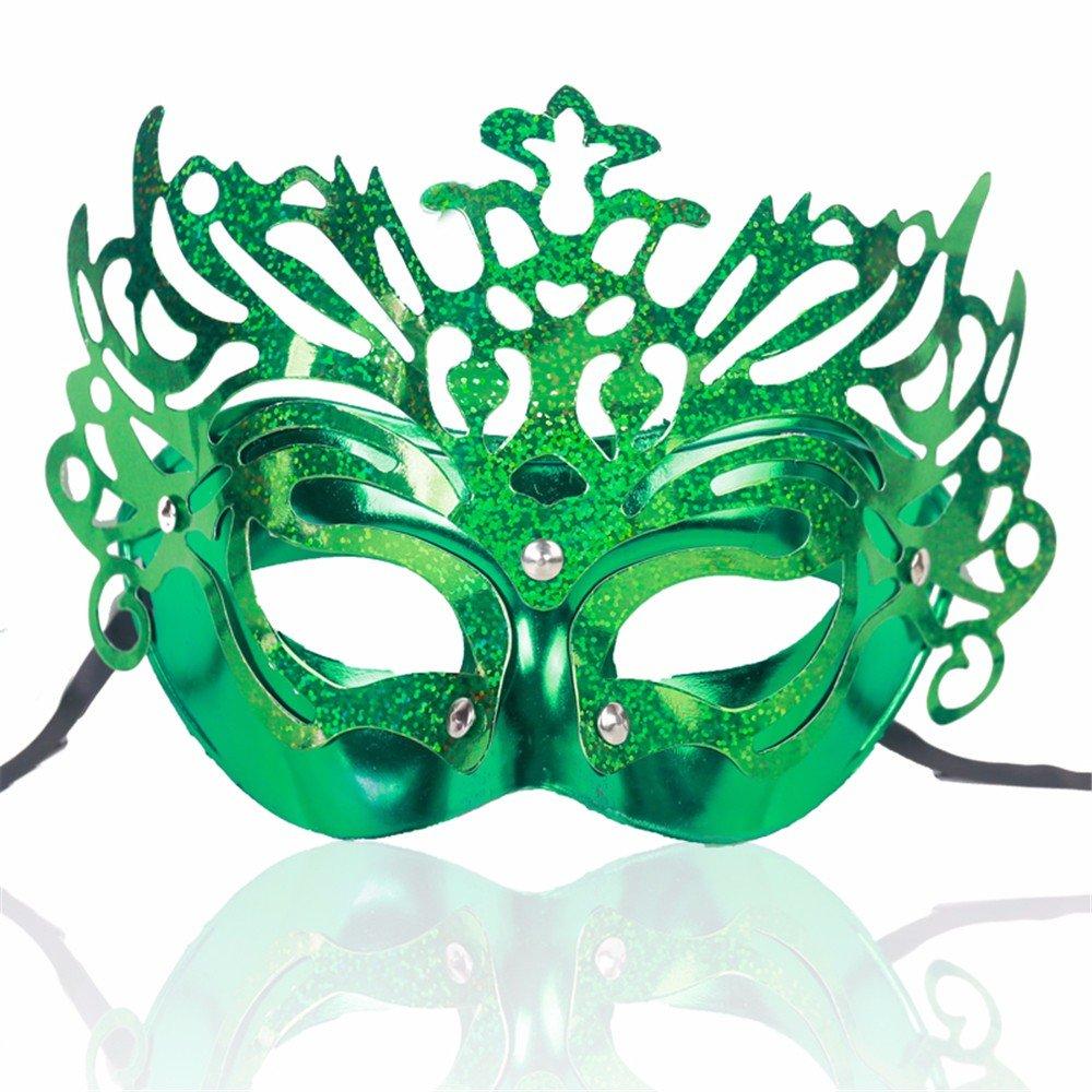 ParttYMask Mascarada,Halloween máscara Media Cara de Femenina Fiesta Danza actuación máscara de Cara Vestir Corona Verde Masquerade 1b58d5