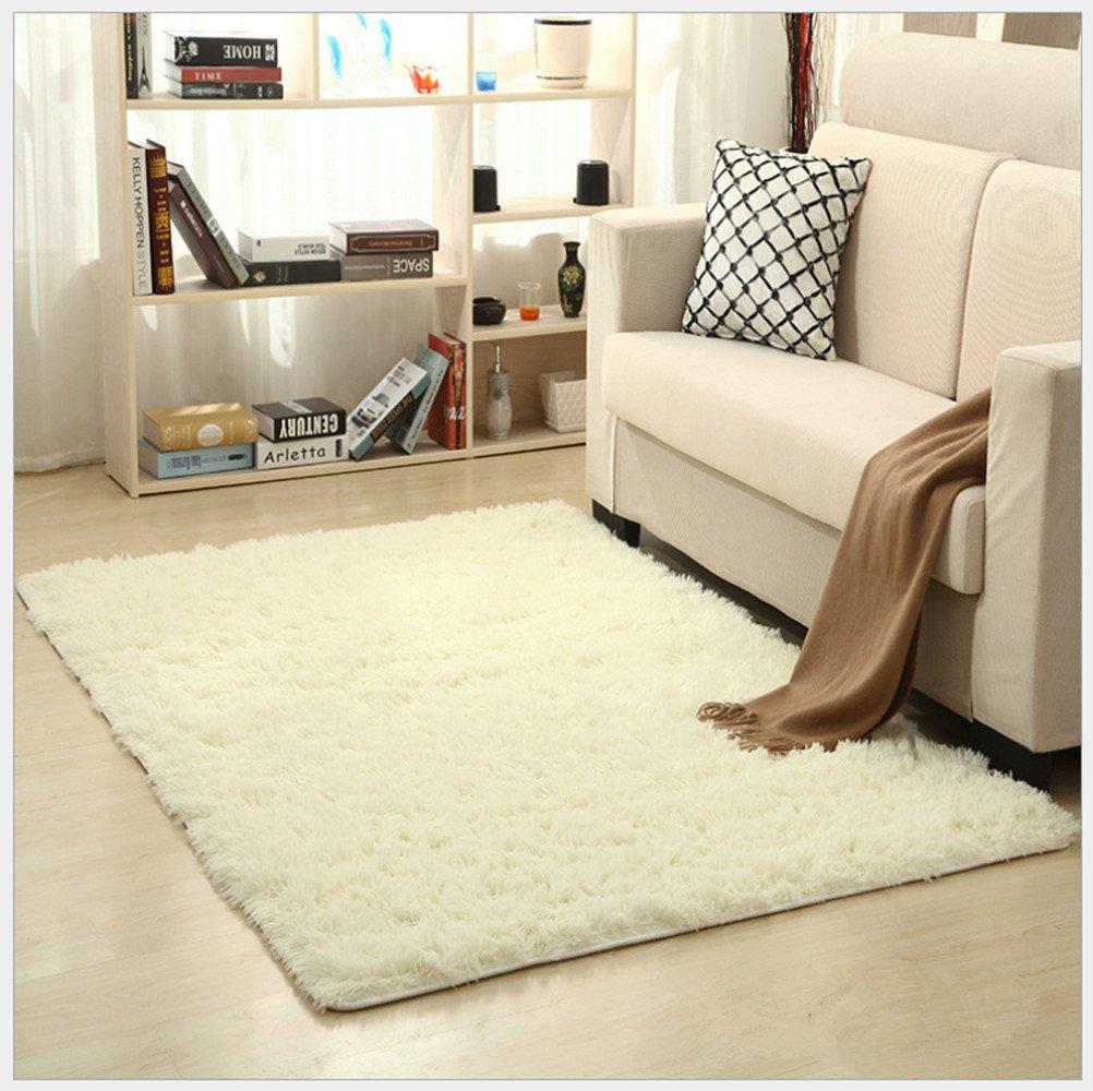 OYRE modern Simple decoration living room bedroom Non-slip plus thick carpet Yoga rug (white, 4- Feet By 5.2- Feet)