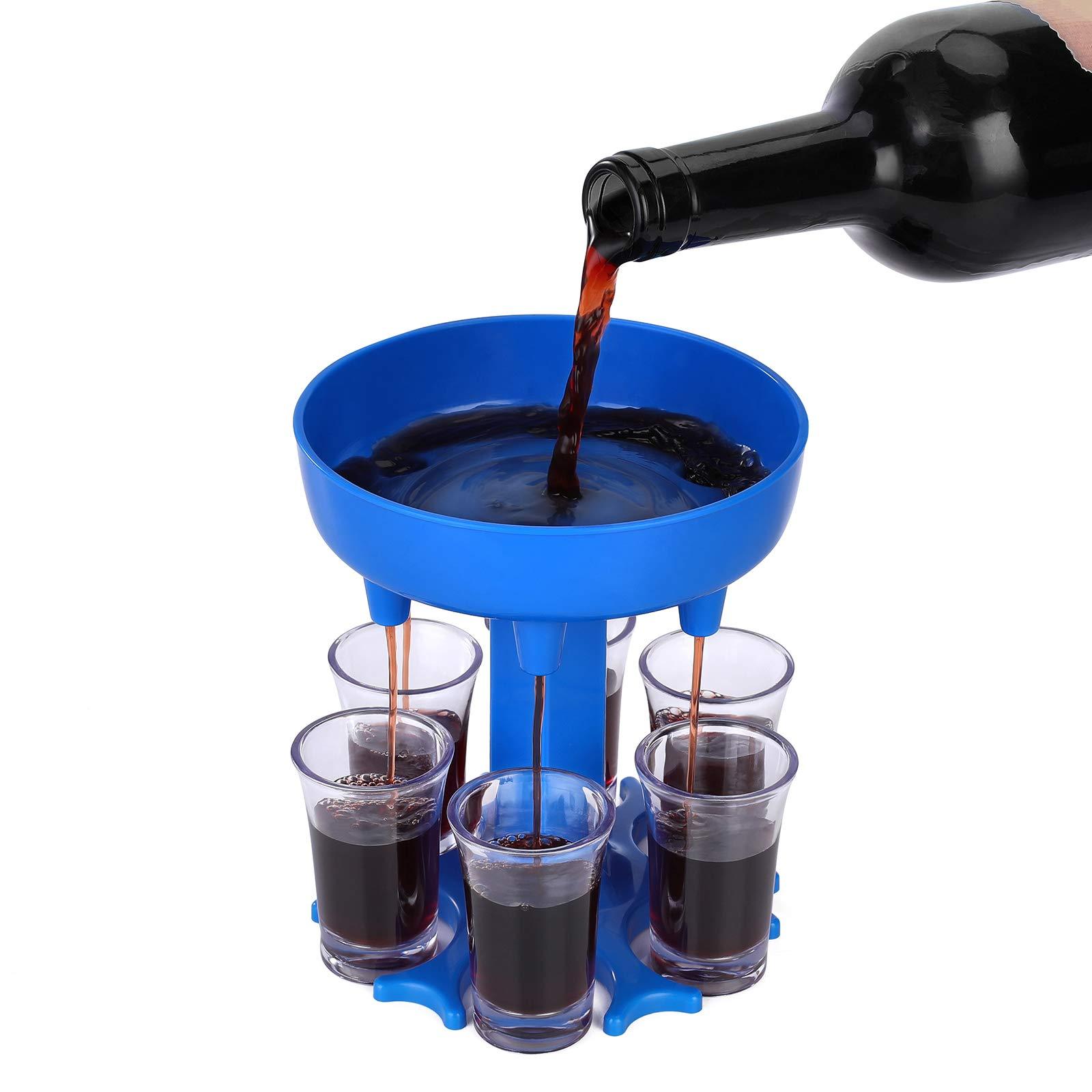 Phetium Shot Glass Dispenser6 Shot Glass Dispenser (Including 6 Glasses) for Red