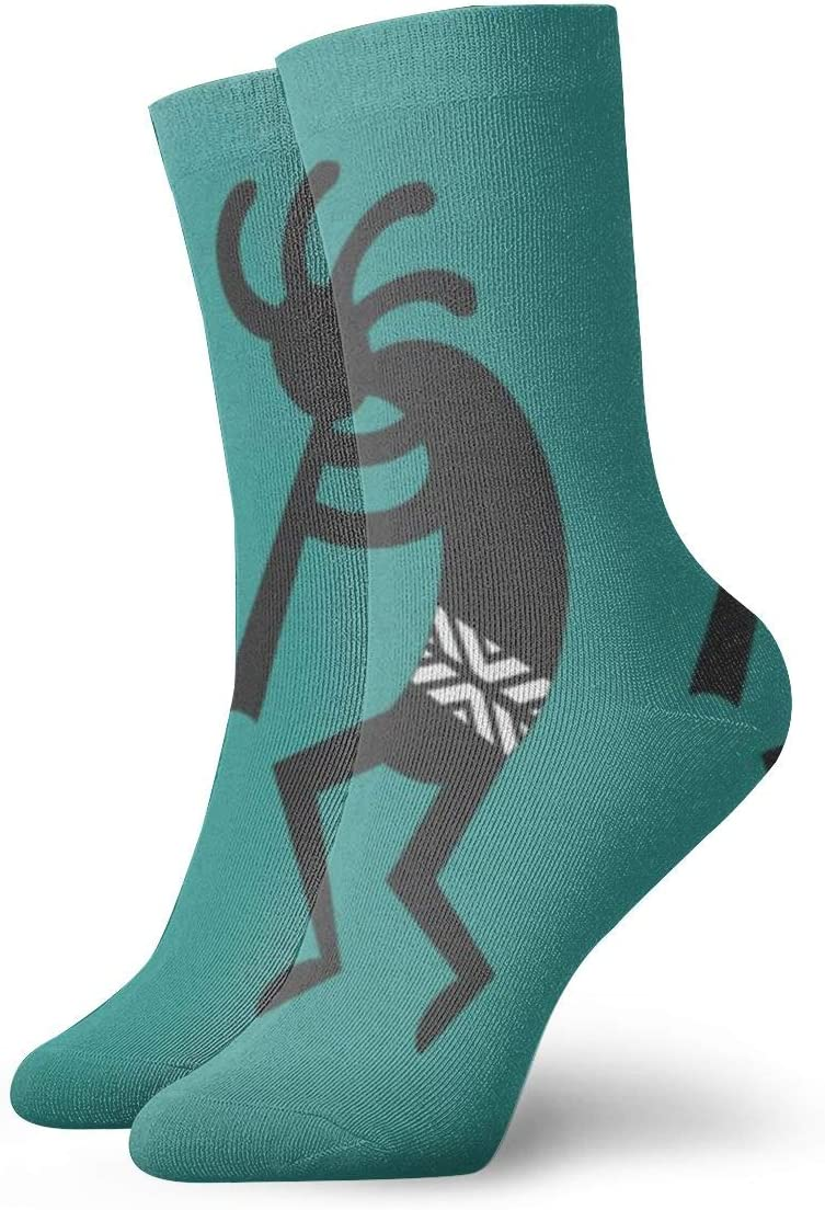 Newiness Teal And Black Kokopelli Southwest Design Men Women Athletic Compression Socks High Ankle Socks Sport Below Knee Stockings Casual Comfortable Crew Socks Home Kitchen