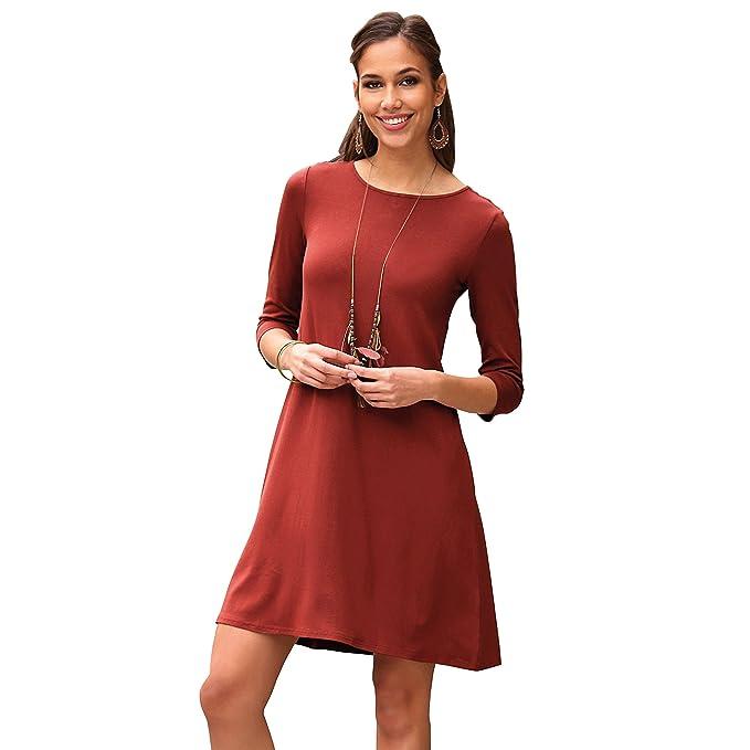 VENCA Vestido Liso de línea evasé Mujer by Vencastyle - 001485,Caldera,L