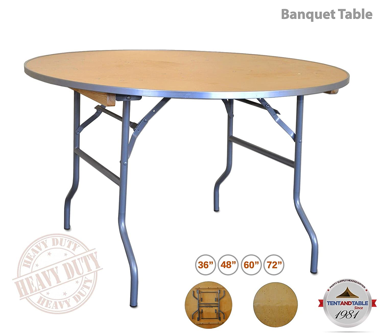 Heavy duty 5 foot 60 inch diameter round solid birch wood folding table with 30 inch height and aluminum edge for weddings parties and events 6 pack