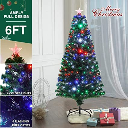 Superworth Pre Lit Fiber Optic 6FT Green Artificial Christmas Tree with  Flashing Multicolored LED Lights & - Amazon.com: Superworth Pre Lit Fiber Optic 6FT Green Artificial