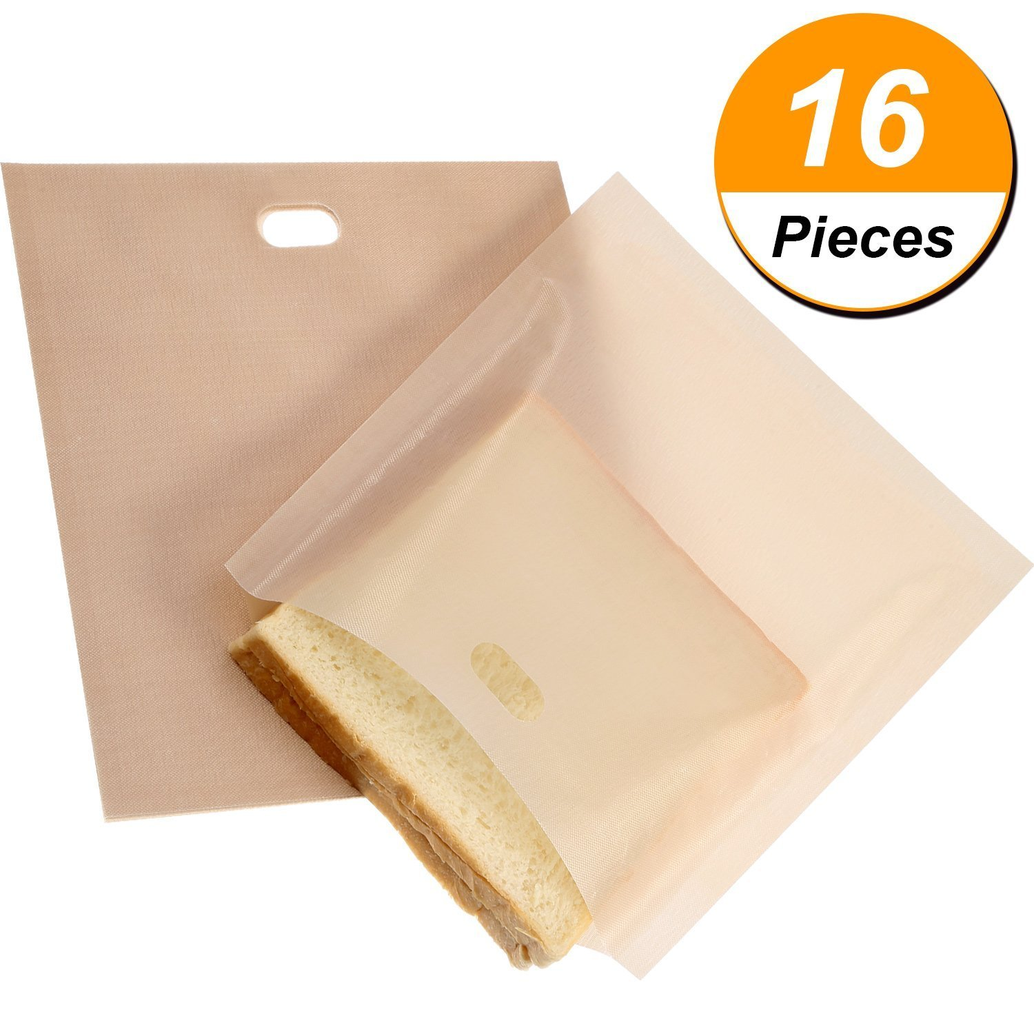 Toaster Bags 16 Pack Non-stick Reusable Toast Bag, Heat Resistant, Good for Grilled Cheese, Sandwiches, Chicken, Hot Dogs, Vegetables P-16