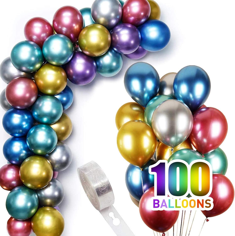 100 Pcs 12 Inch Metallic Birthday Party Balloons Bulk with Balloon Arch Kit Strip Latex Chrome Balloons Wedding Christmas Halloween Decorations