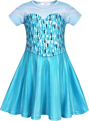 HenzWorld Princess Costume Girls Dresses Birthday Party Cosplay Halloween Pajamas Outfits Blue 3-7 Years