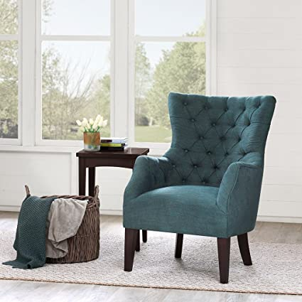 Button Tufted Wing Chair Green/Hannah
