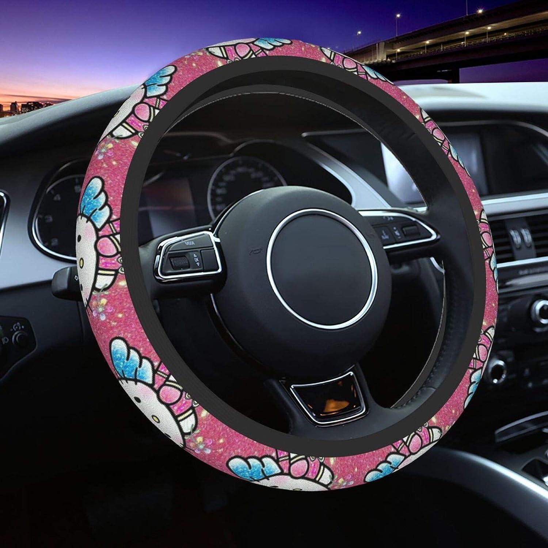 Angel Hello Kitty Streering Wheel Cover Universal Fit 15 pulgadas, Elasticity Auto Car Wheel Protector para hombres mujeres