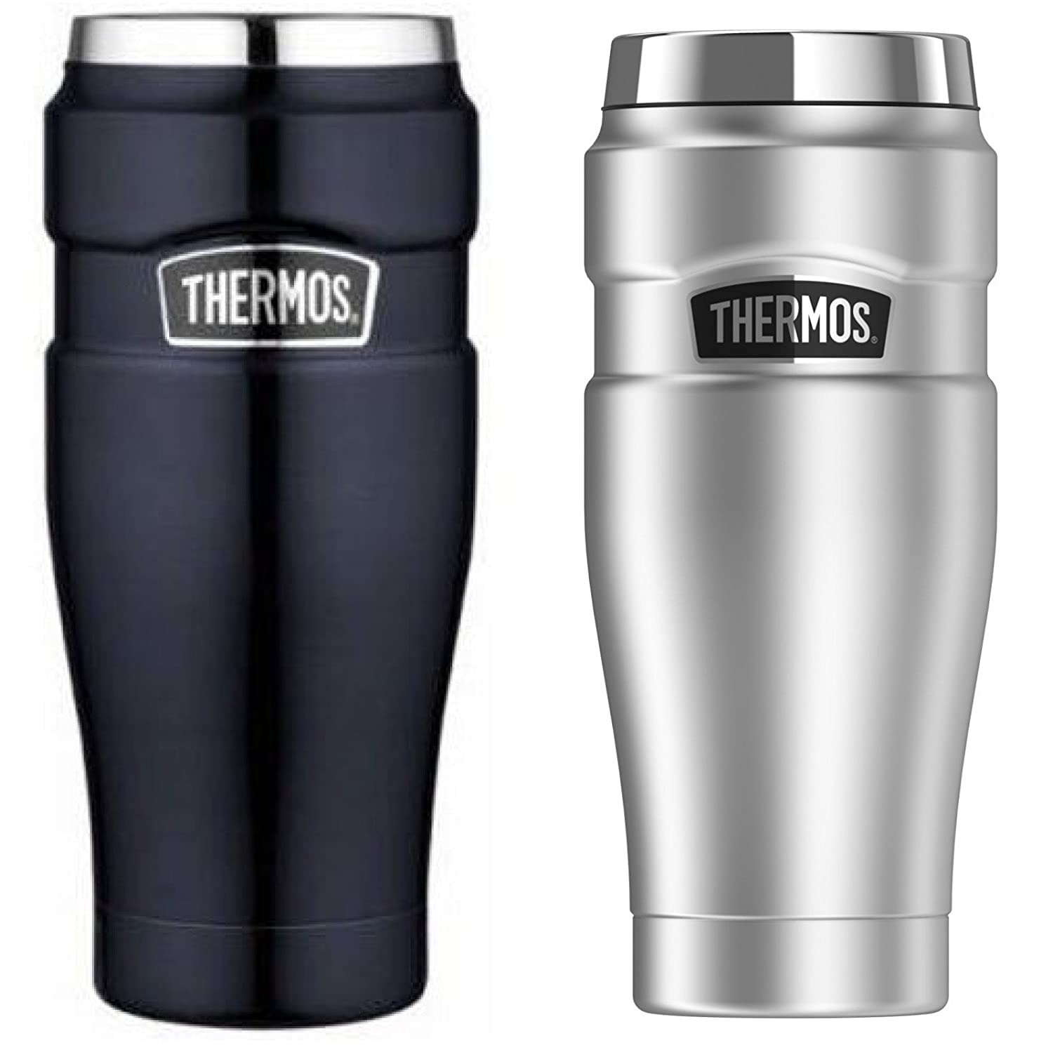 Thermos Stainless King 16-Ounce Travel Tumbler 2-PACK (Silver/Midnight Blue)