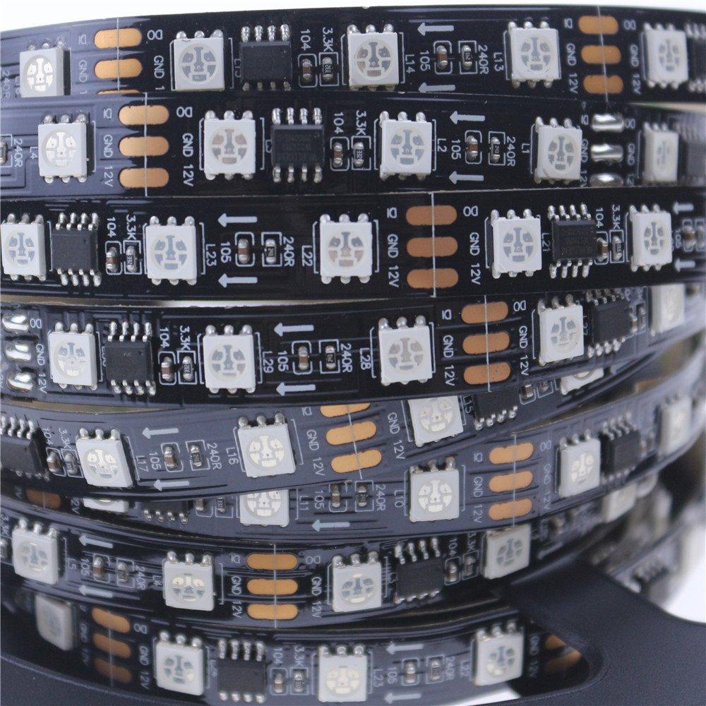 Alarmpore (TM 5m/16.4ft WS2811 LED Digital Strip LED Pixel Strings DC12V 300LEDs 100ICs 5050 RGB Addressable Not Waterproof Black PCB