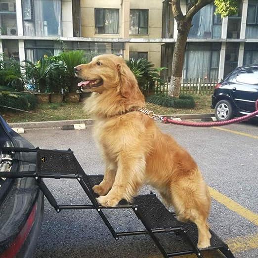 Escalera de coche para mascotas, marco de metal de acordeón, plegable, para uso en interiores y