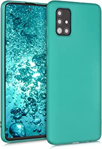 kwmobile TPU Silicone Case Compatible with Samsung Galaxy A51 - Soft Flexible Protective Phone Cover - Metallic Turquoise