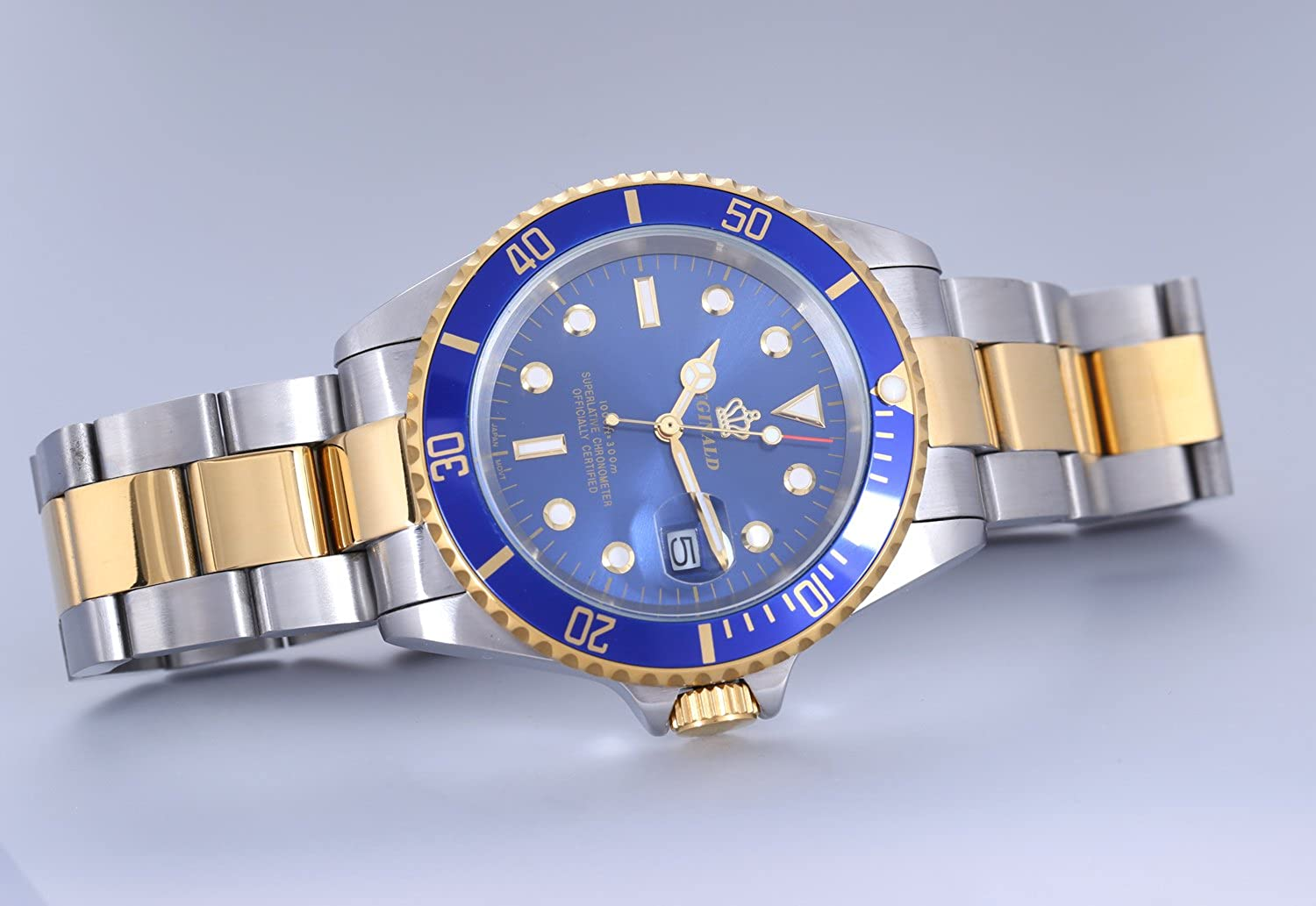Amazon.com: REGINALD Mens Luminous Watch Rotatable Bezel Sapphire Glass Blue Dial Gold Stainless Steel Quartz Watches: Watches