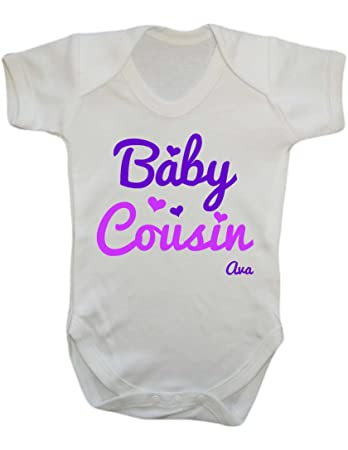 07ea4adfaea04 Baby cousin personalised with name baby vest grow free shipping (0-3):  Amazon.co.uk: Baby